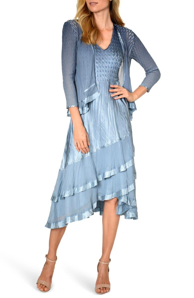 KOMAROV Beaded Charmeuse & Chiffon Tiered Dress with Jacket, Main, color, 440