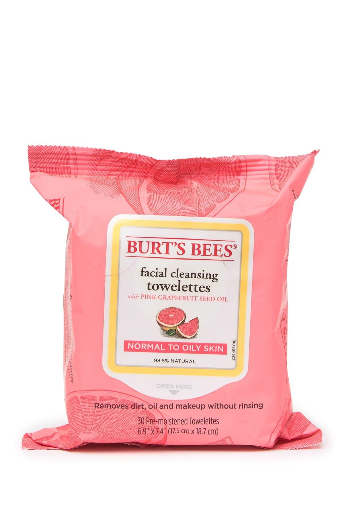 Image of BURT'S BEES Facial Cleansing Towelettes - Pink Grapefruit