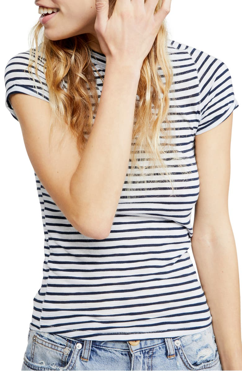FREE PEOPLE Night Sky Stripe Tee, Main, color, BLUE