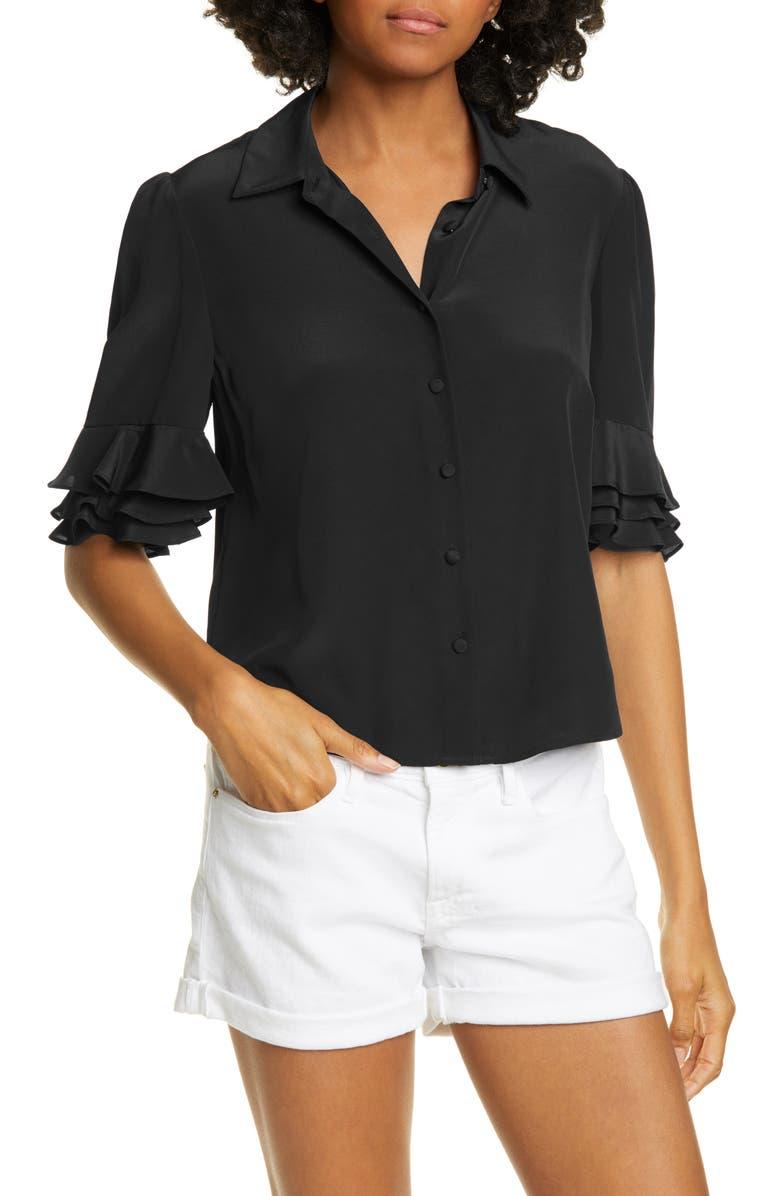 FRAME Ruffle Sleeve Silk Top, Main, color, NOIR