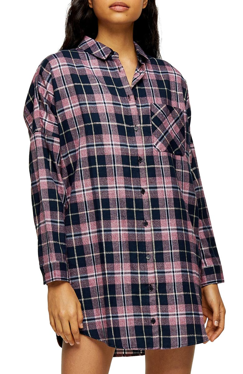 TOPSHOP Check Sleep Pajama Shirt, Main, color, 411