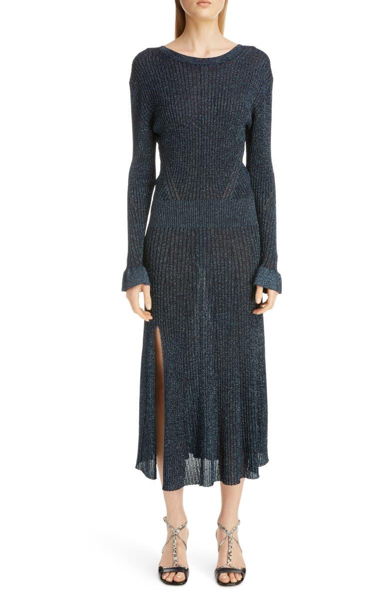 CHLOÉ Metallic Rib Long Sleeve Midi Dress, Main, color, SHINY BLUE