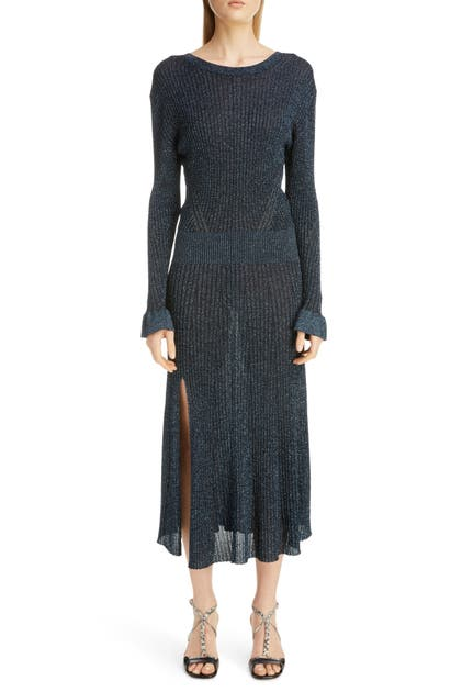 Chloé Dresses METALLIC RIB LONG SLEEVE MIDI DRESS