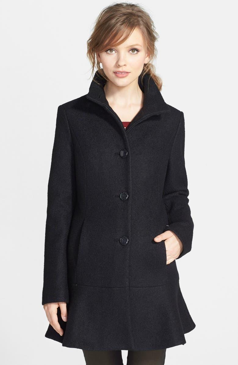 KENSIE Fit & Flare Coat, Main, color, 001