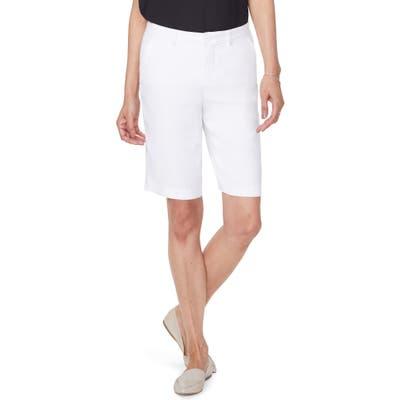 Nydj Stretch Linen Blend Bermuda Shorts, White