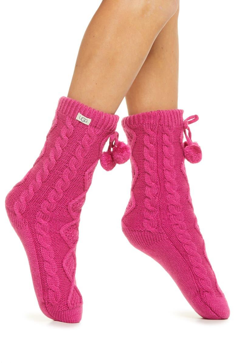 UGG<SUP>®</SUP> Pompom Fleece Lined Socks, Main, color, 663
