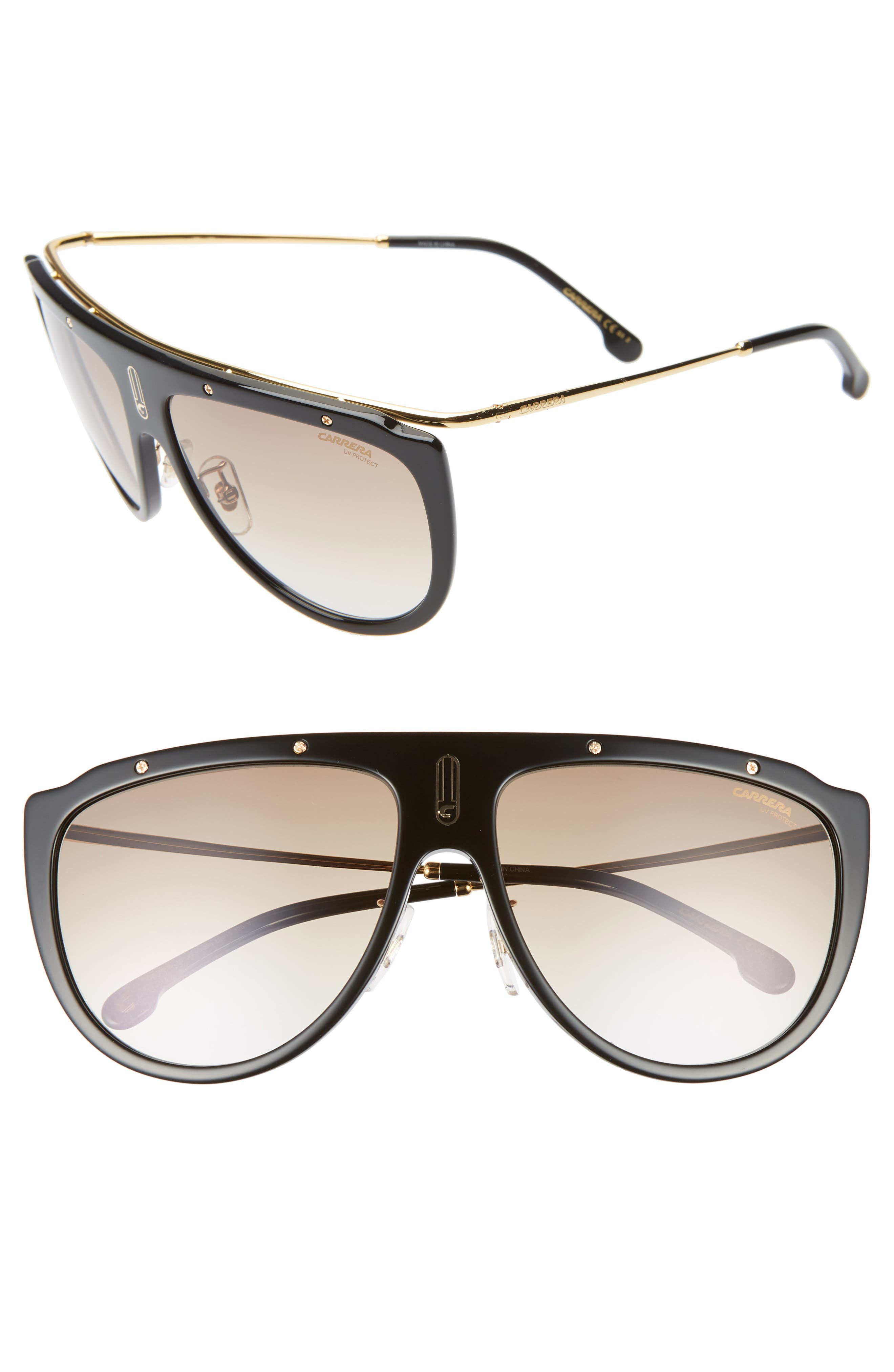 Carrera Eyewear 60Mm Aviator Sunglasses - Black Gold