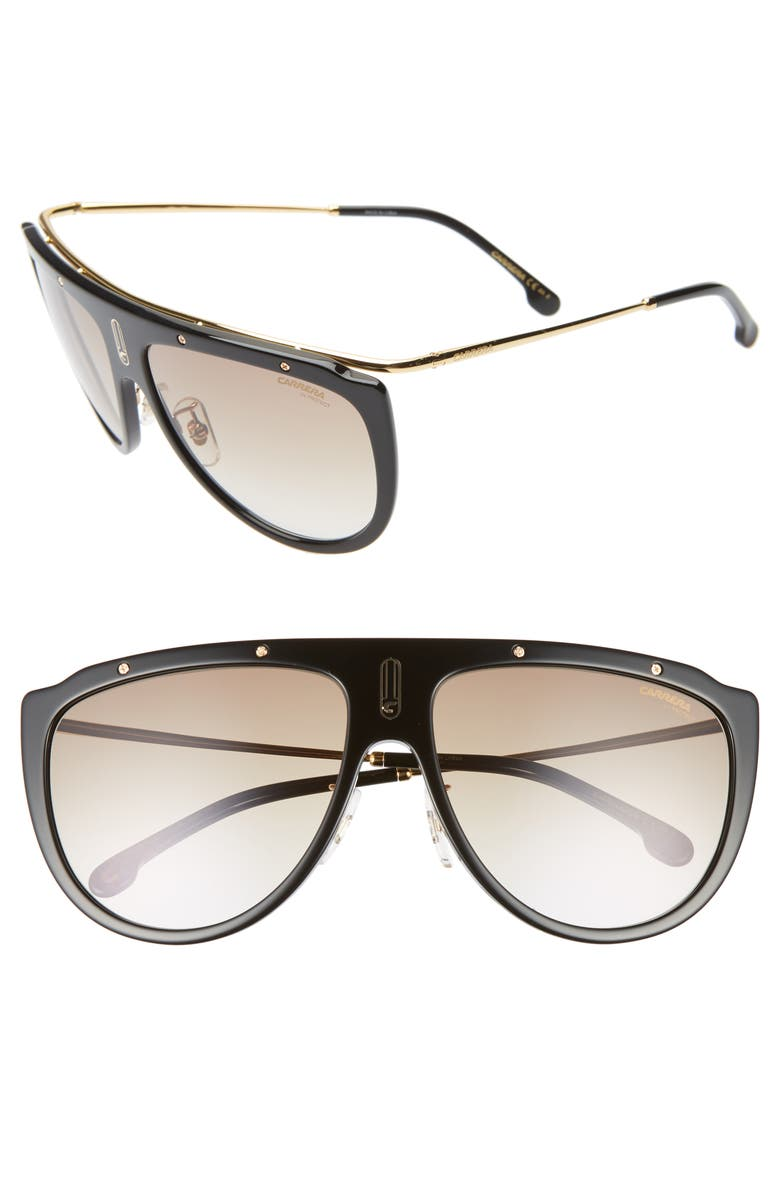 CARRERA EYEWEAR 60mm Aviator Sunglasses, Main, color, BLACK GOLD