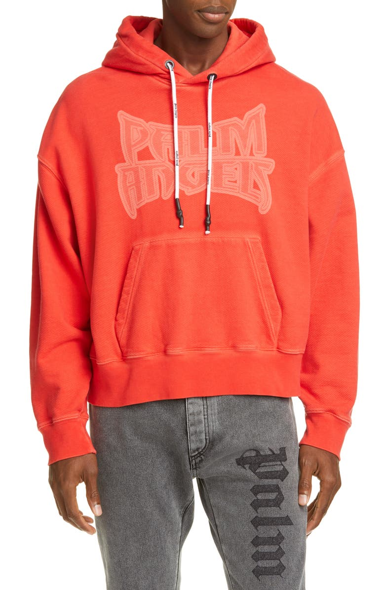 PALM ANGELS Metal Palm Graphic Hooded Sweatshirt, Main, color, RED MULTICOLOR