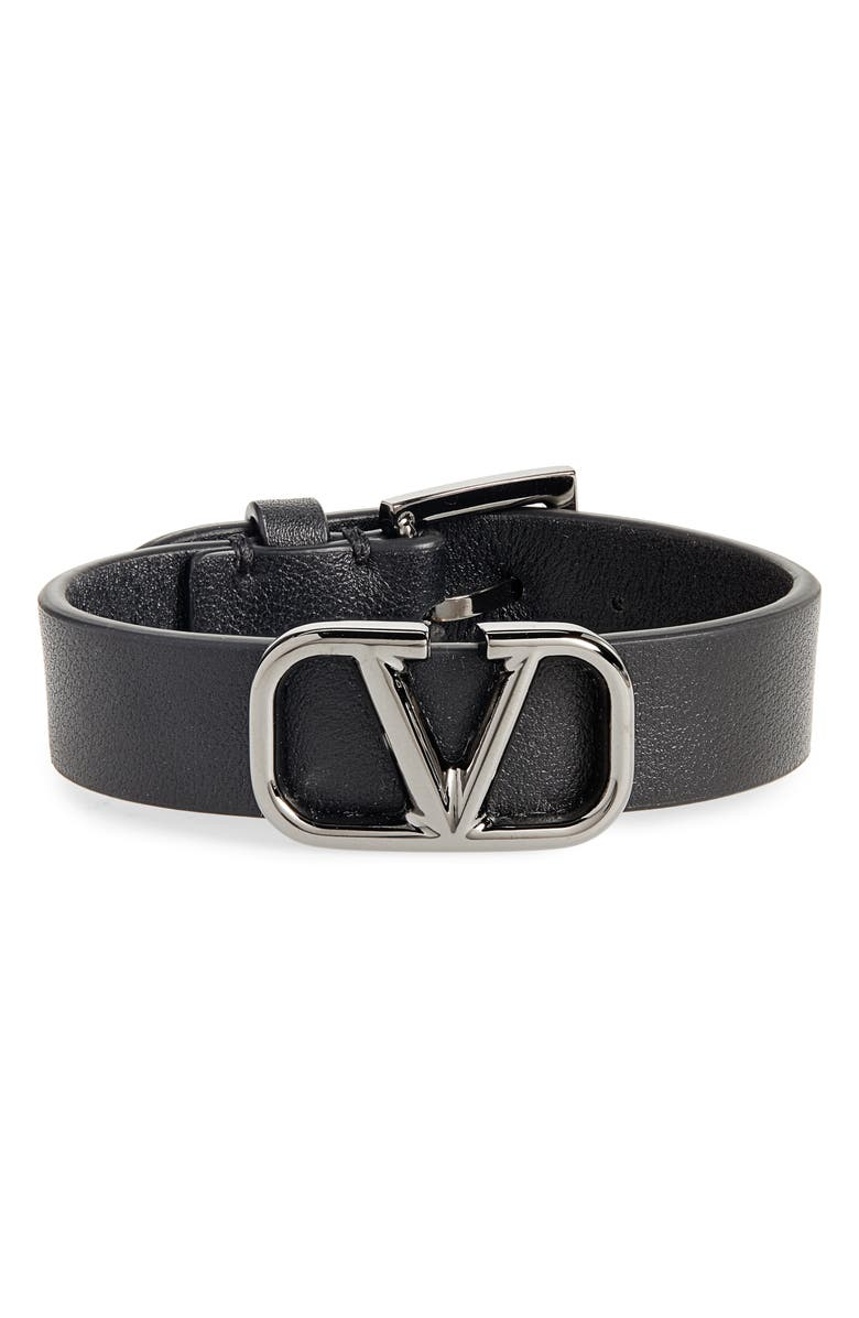 VALENTINO VLOGO Leather Bracelet, Main, color, BLACK