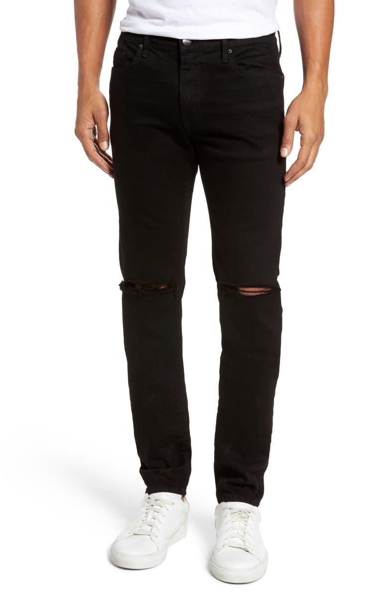 FRAME L'Homme Skinny Jeans, Main, color, NOIR SLITS