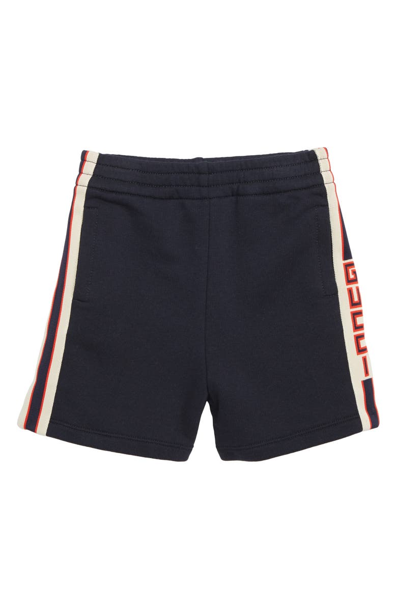 GUCCI Logo Stripe Jogging Shorts, Main, color, 422