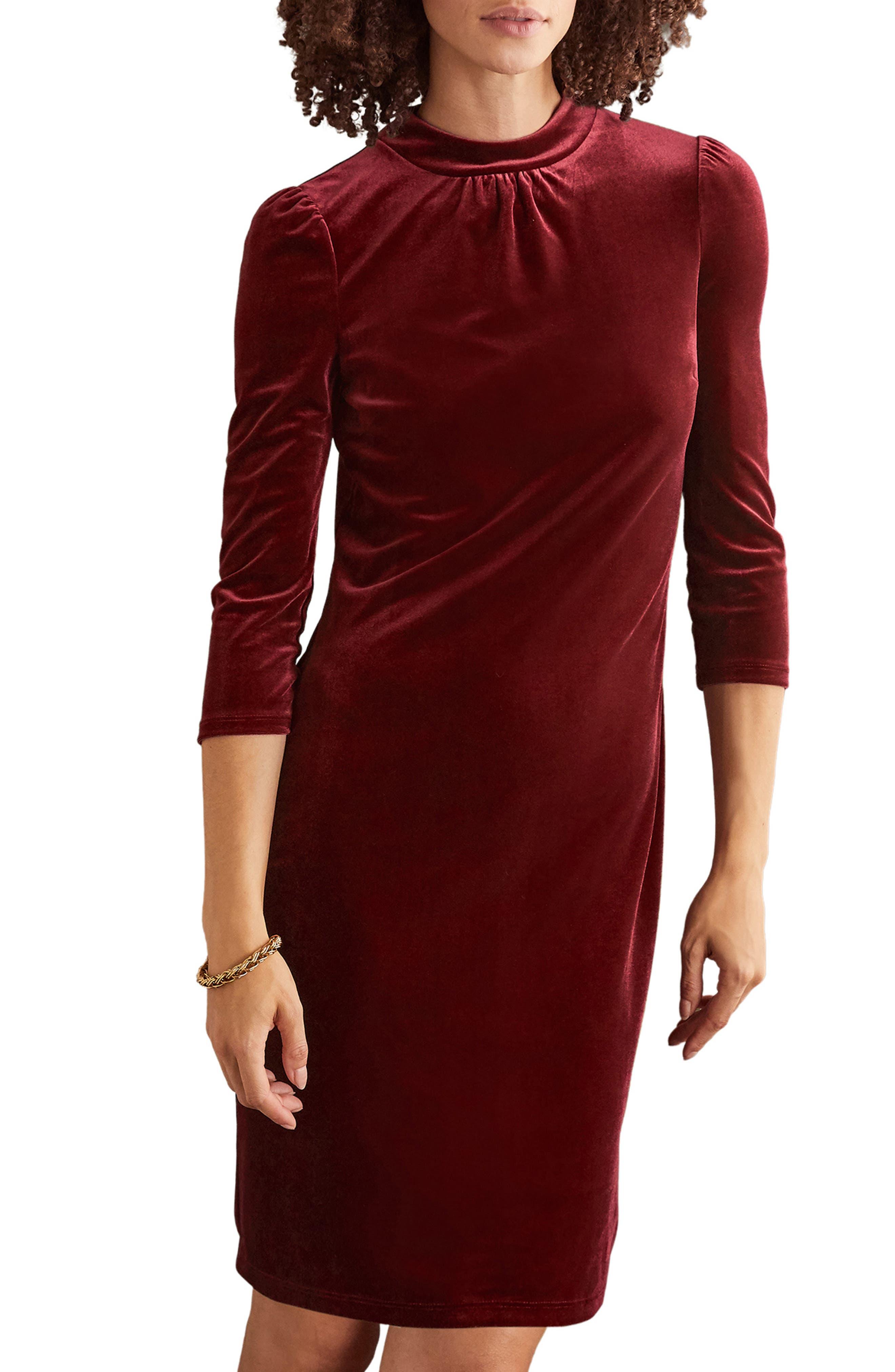 Image of BODEN High Neck Velvet Dress
