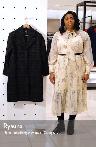 Notch Collar Plaid Organic Cotton & Wool Blend Coat, sales video thumbnail