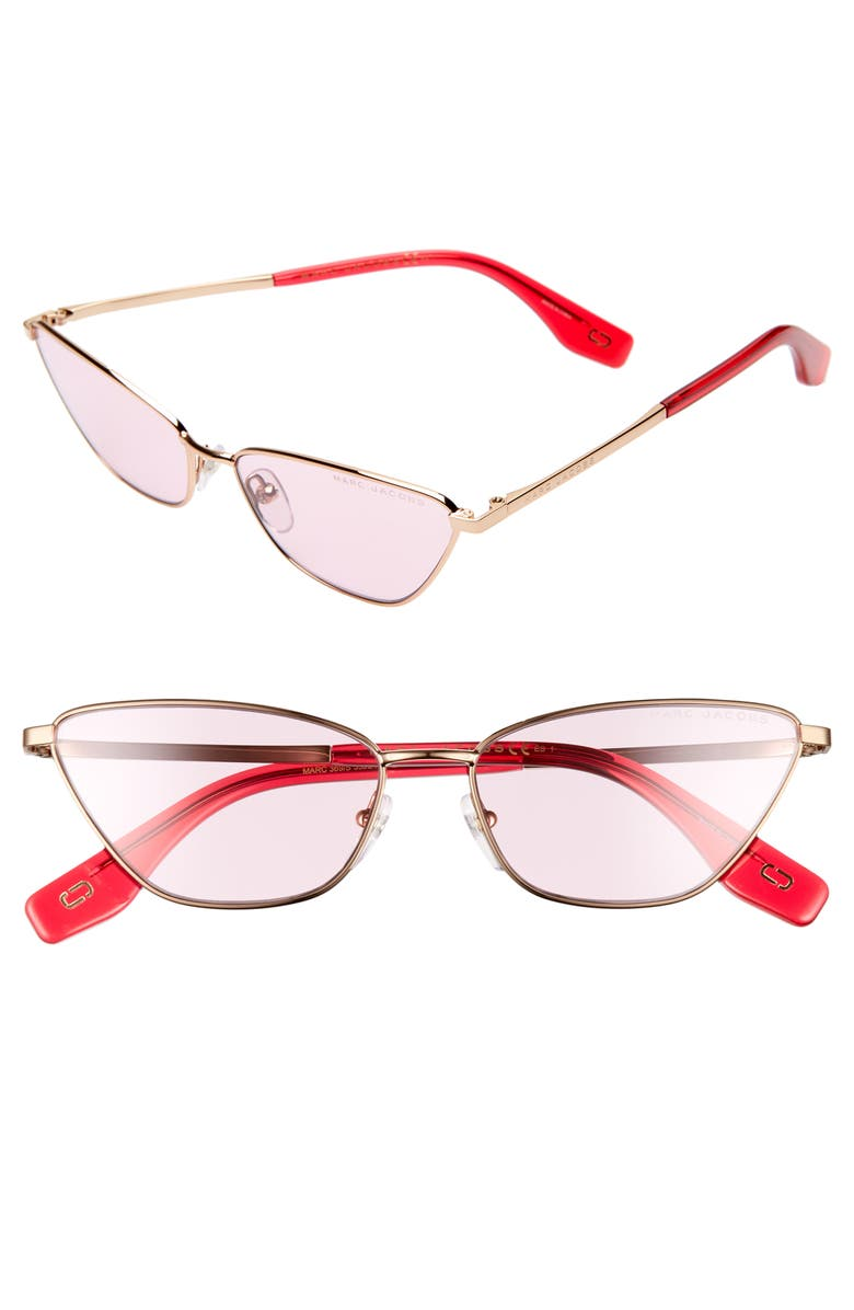 THE MARC JACOBS 57mm Cat Eye Sunglasses, Main, color, GOLD/ PINK