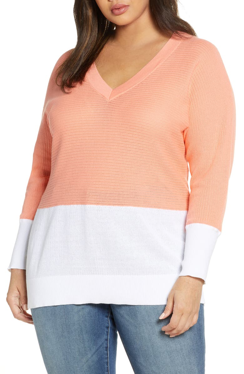 MICHAEL MICHAEL KORS Colorblock Dolman Sleeve Sweater, Main, color, DESERT FLOWER