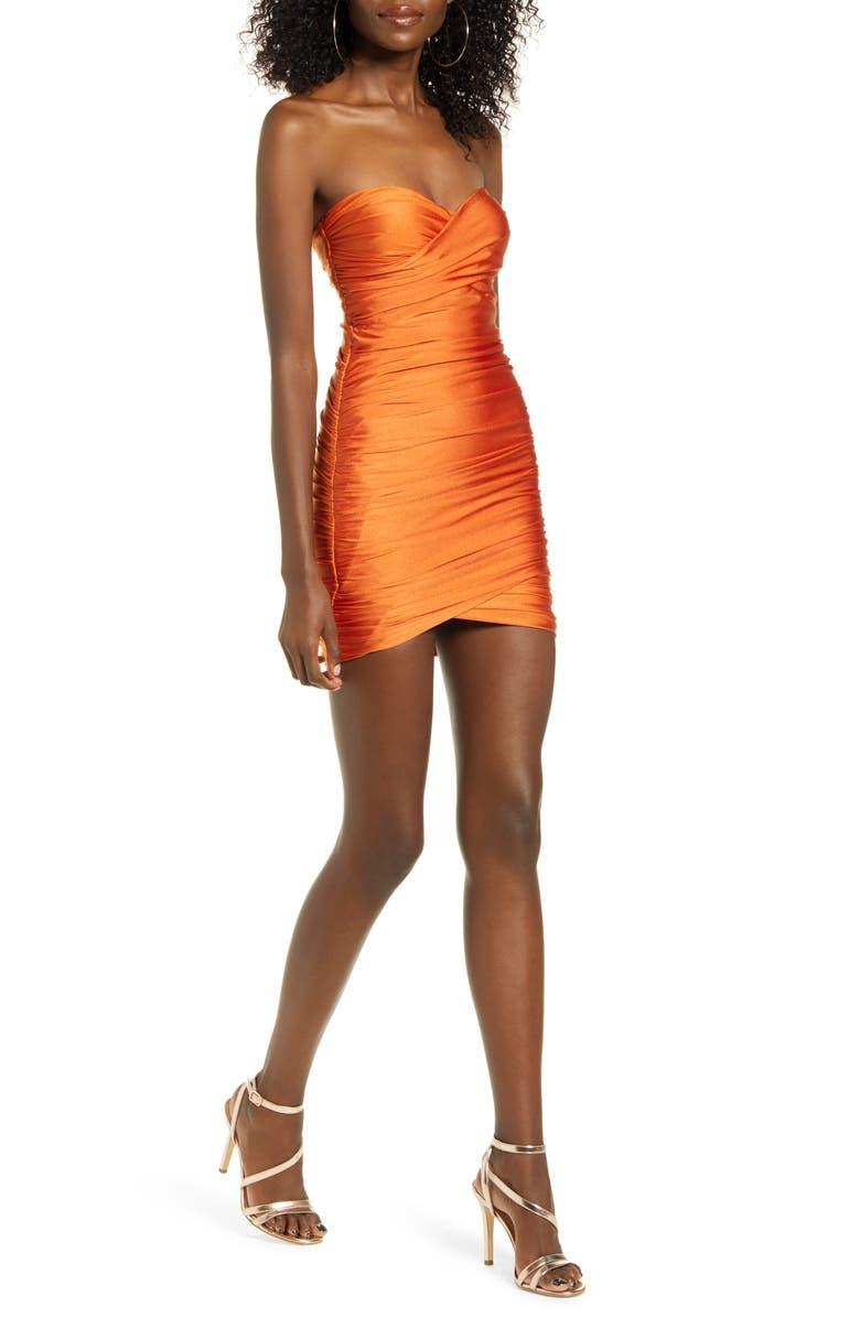 TIGER MIST Matteo Strapless Body-Con Minidress, Main, color, ORANGE