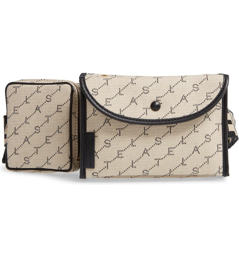 STELLA MCCARTNEY Monogram Canvas Belt Bag, Main, color, SAND
