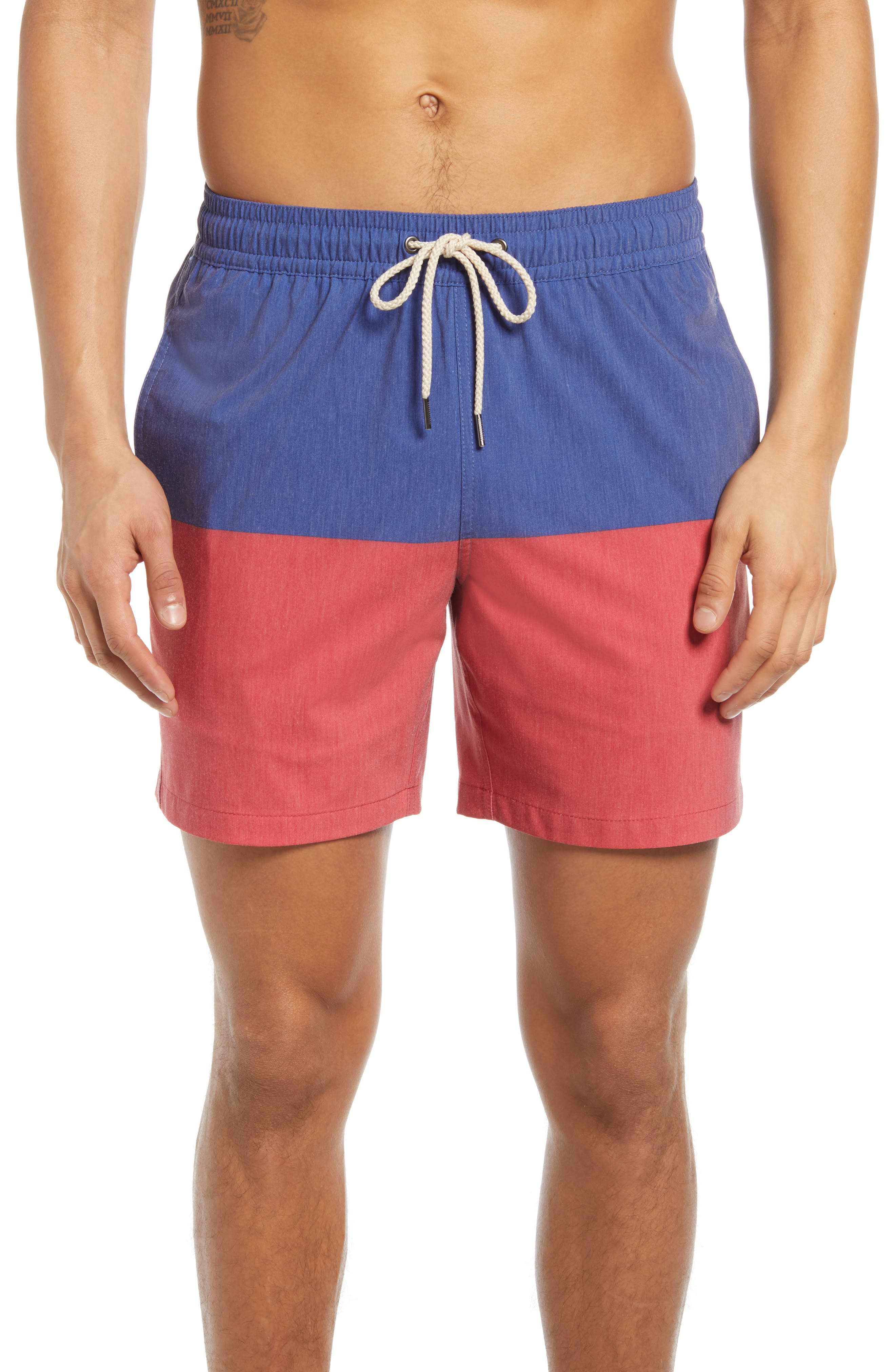 Vintage Men's Swimsuits – 1930s, 1940s, 1950s History Mens Fair Harbor The Bayberry Colorblock Swim Trunks Size XX-Large - Blue $68.00 AT vintagedancer.com