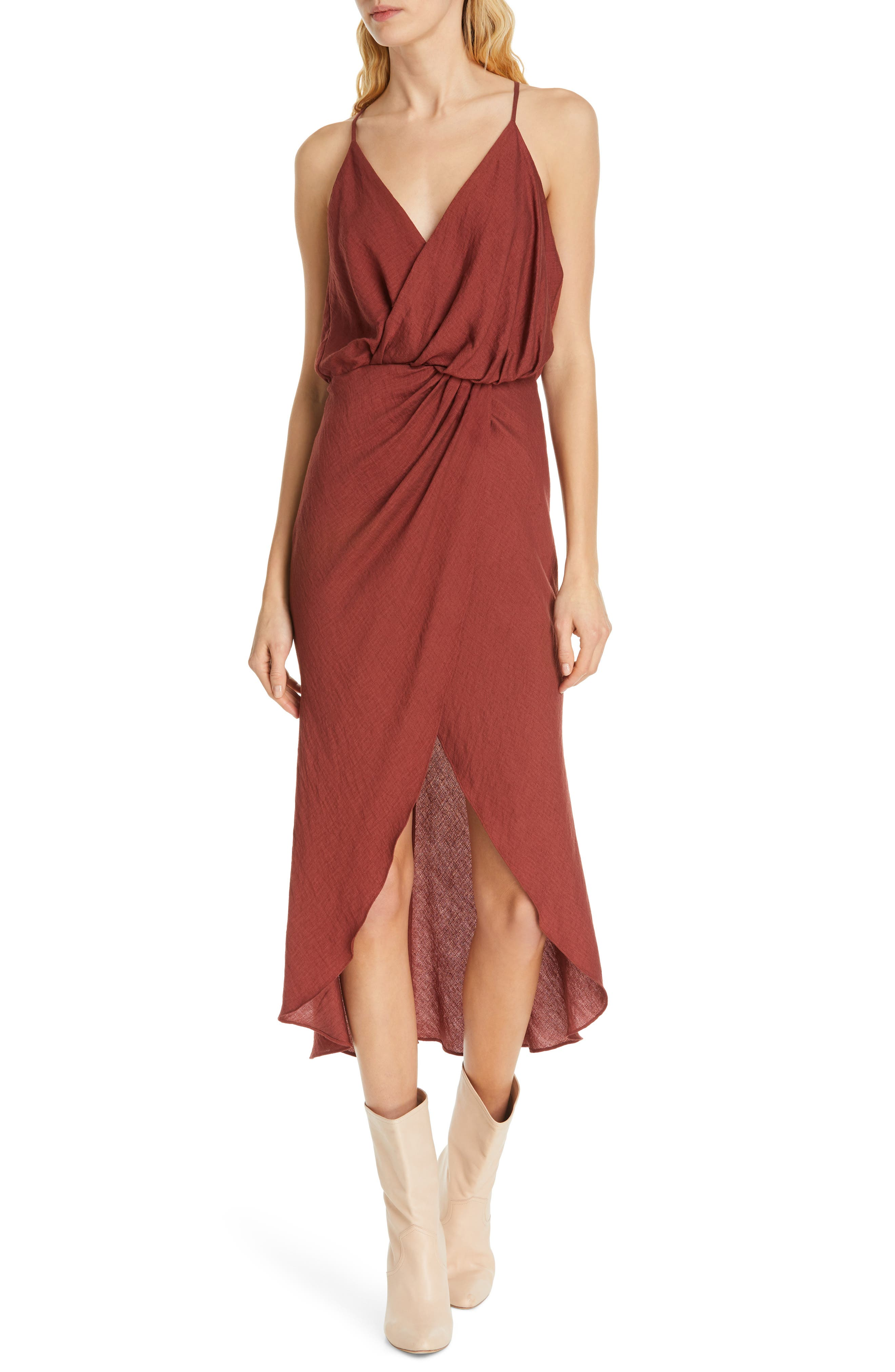 Joie Tanika Twisted Front Dress, Red