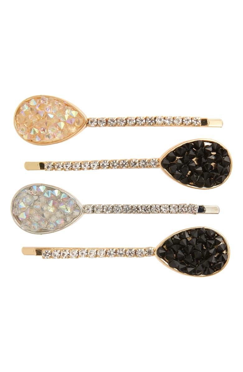 TASHA 4-Pack Crystal Pavé Bobby Pins, Main, color, GOLD/ SILVER