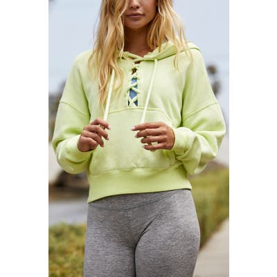 Free People Fp Movement Believe It Lace-Up Hoodie, Green