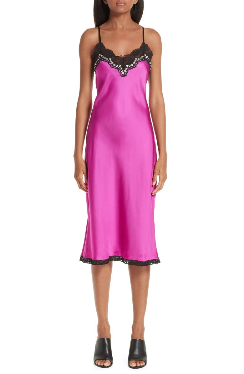 ALEXANDER WANG Grommet Detail Slipdress, Main, color, 656