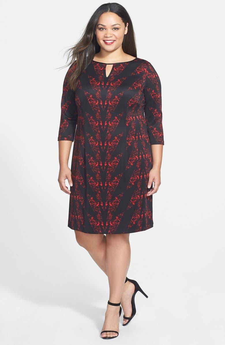 TAHARI by Arthur S. Levine Keyhole Print Scuba Knit Sheath Dress, Main, color, 007