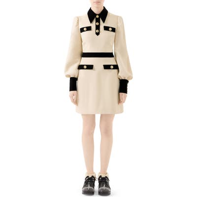 Gucci Long Sleeve Cady Crepe Dress With Removable Tie, US / 46 IT - Ivory