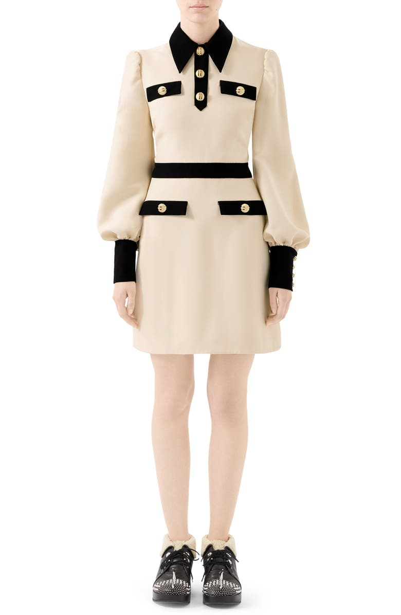 GUCCI Long Sleeve Cady Crepe Dress with Removable Tie, Main, color, GARDENIA/ MIX