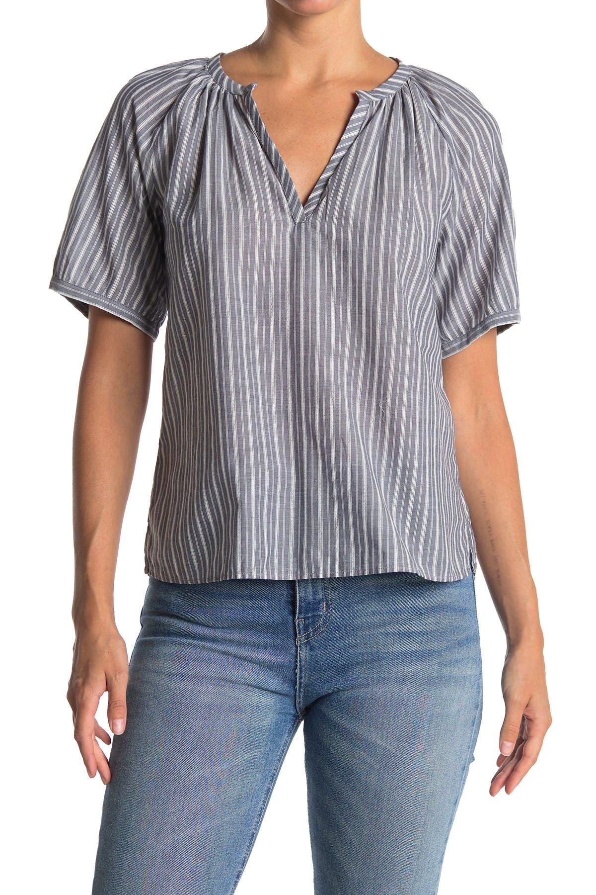Image of Caslon Textured Stripe Split Neck Top