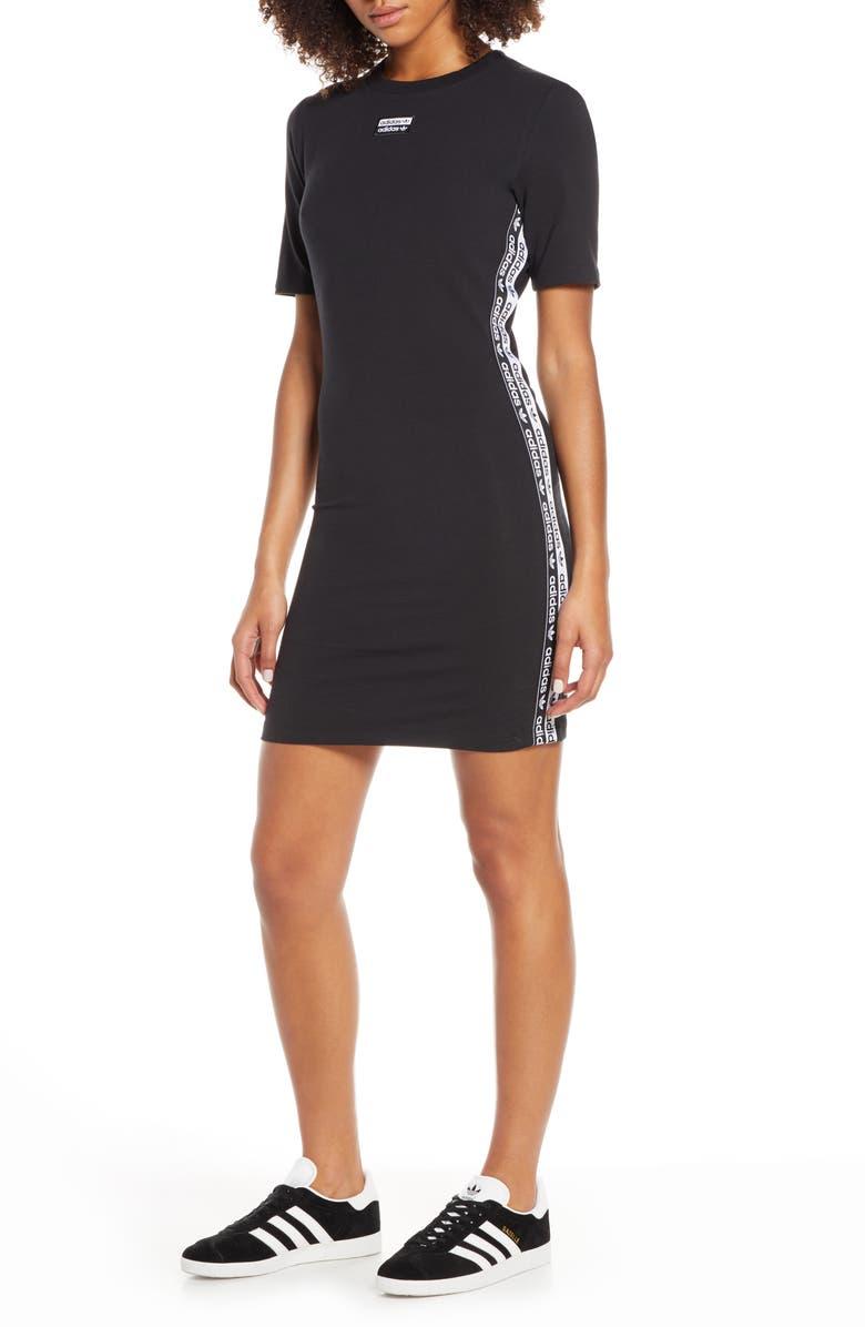 ADIDAS ORIGINALS adidas Stripe T-Shirt Dress, Main, color, BLACK