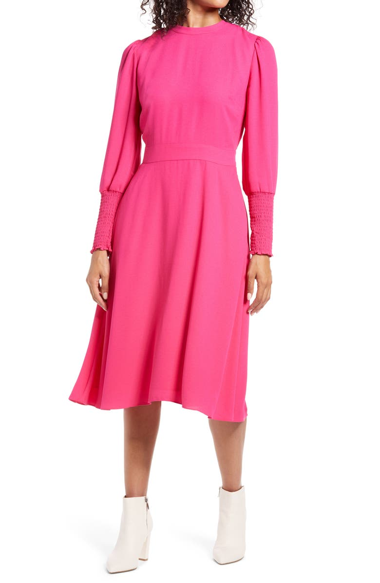 HALOGEN<SUP>®</SUP> Tie Back Long Sleeve Dress, Main, color, PINK YARROW
