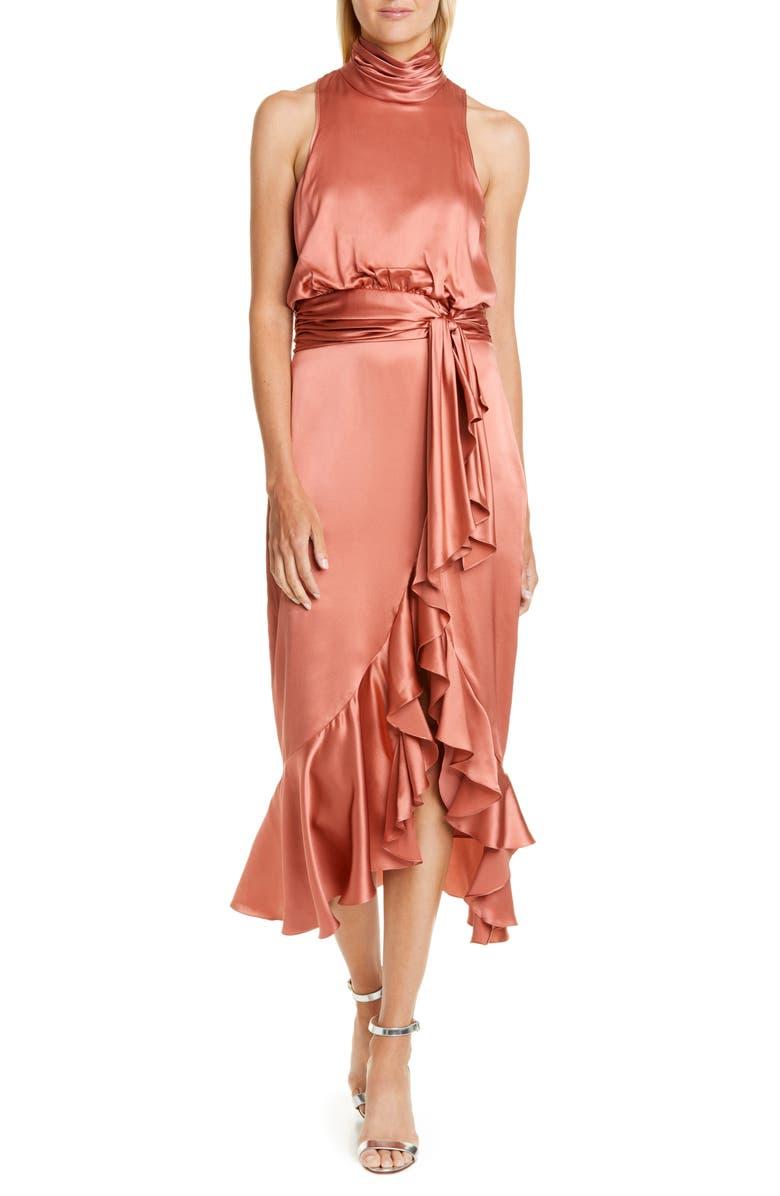 CINQ À SEPT Silk Dress, Main, color, ROSEWOOD