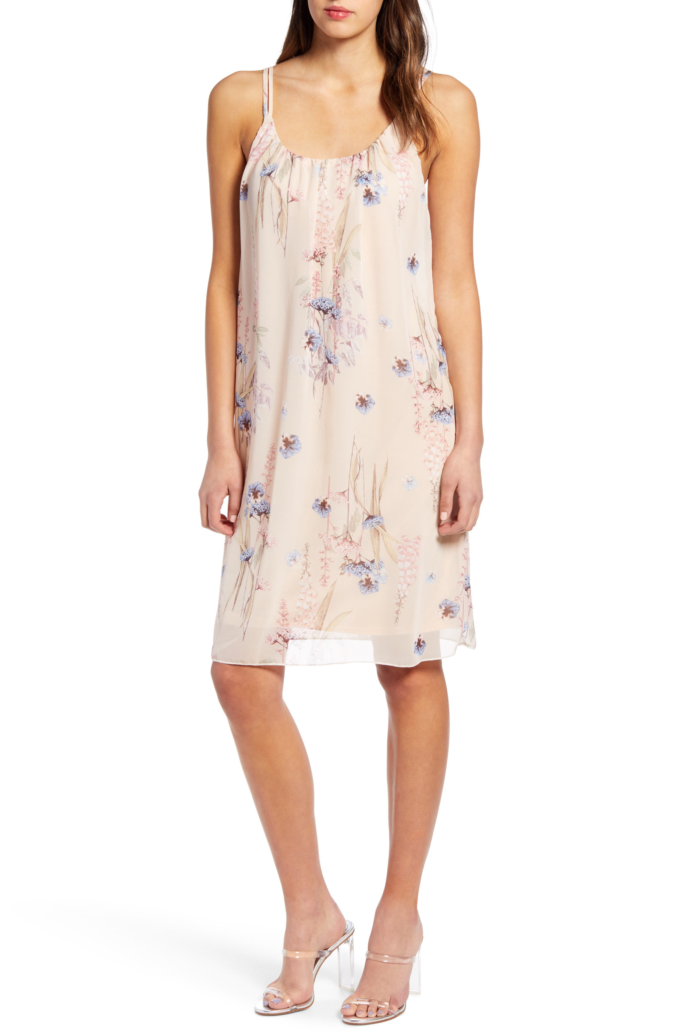 Leith Floral Print Shift Dress, Pink
