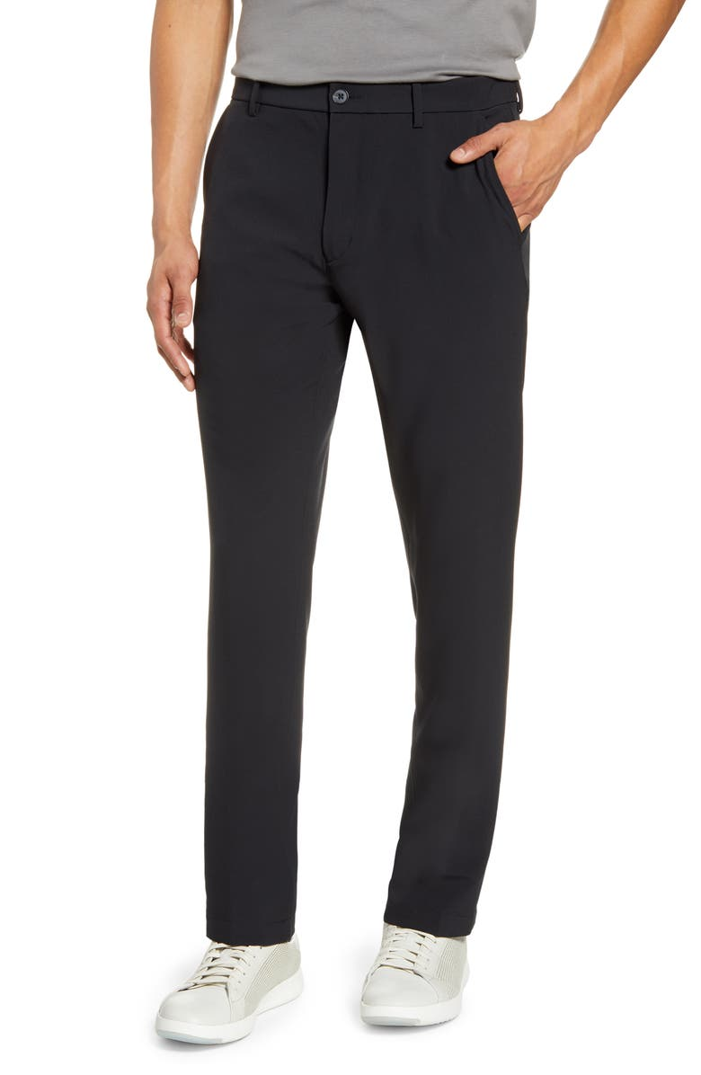 NORDSTROM MEN'S SHOP Performance Flat Front Stretch Chino Pants, Main, color, BLACK