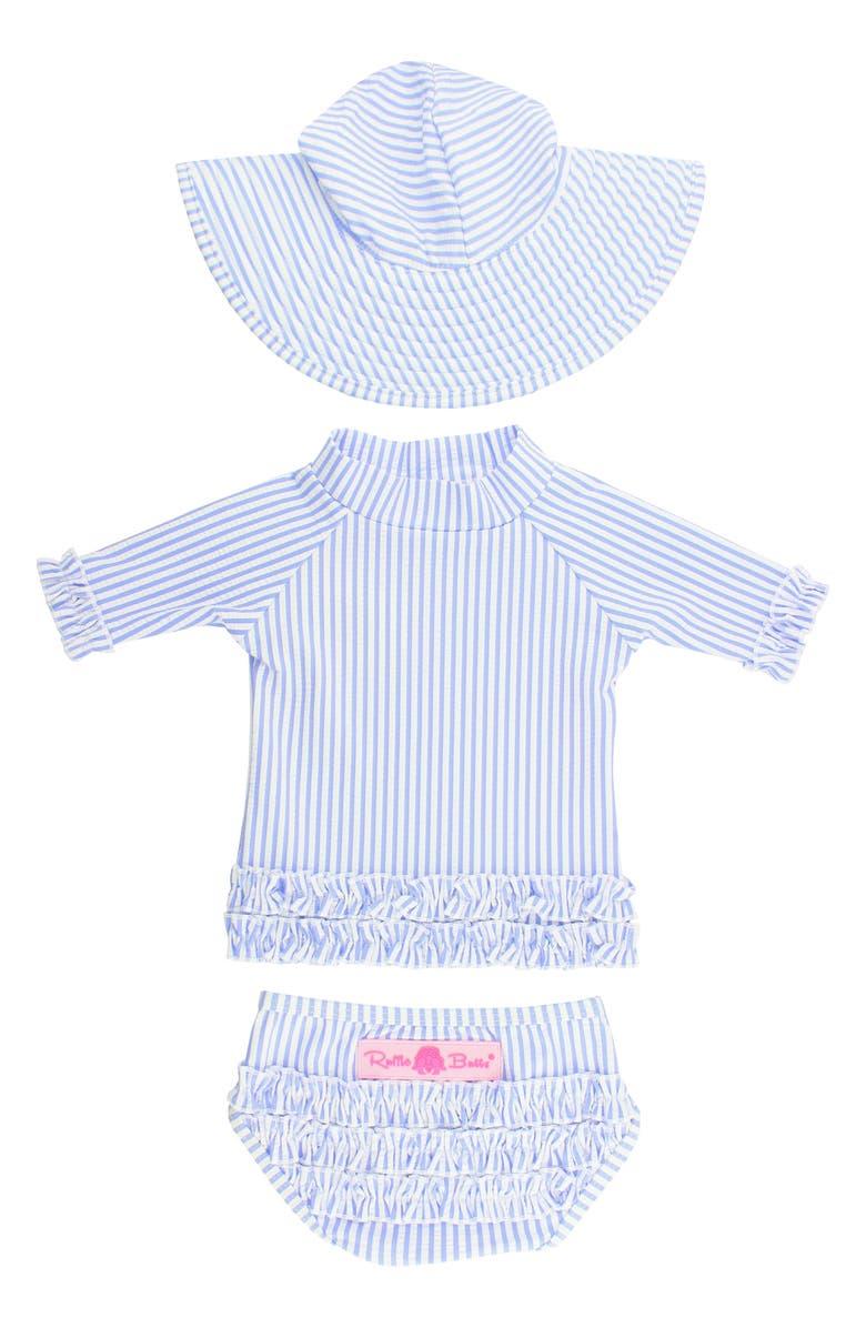 b2de335986 Seersucker Two-Piece Rashguard Swimsuit & Hat Set, Main, color, PERIWINKLE