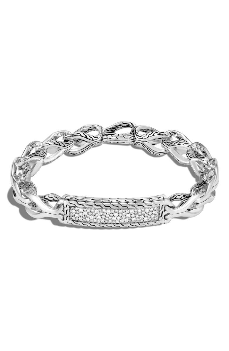 JOHN HARDY Men's Asli Diamond ID Bracelet, Main, color, SILVER/ DIAMOND