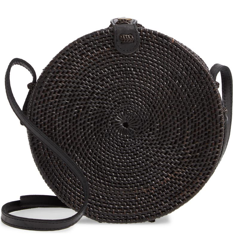 STREET LEVEL Woven Rattan Circle Basket Crossbody, Main, color, BLACK/ BLACK