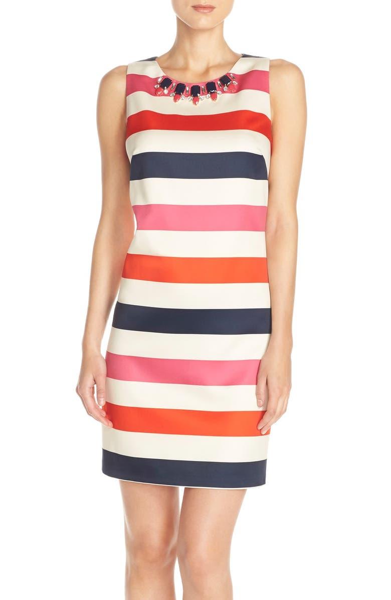 VINCE CAMUTO Embellished Stripe Satin Shift Dress, Main, color, 698