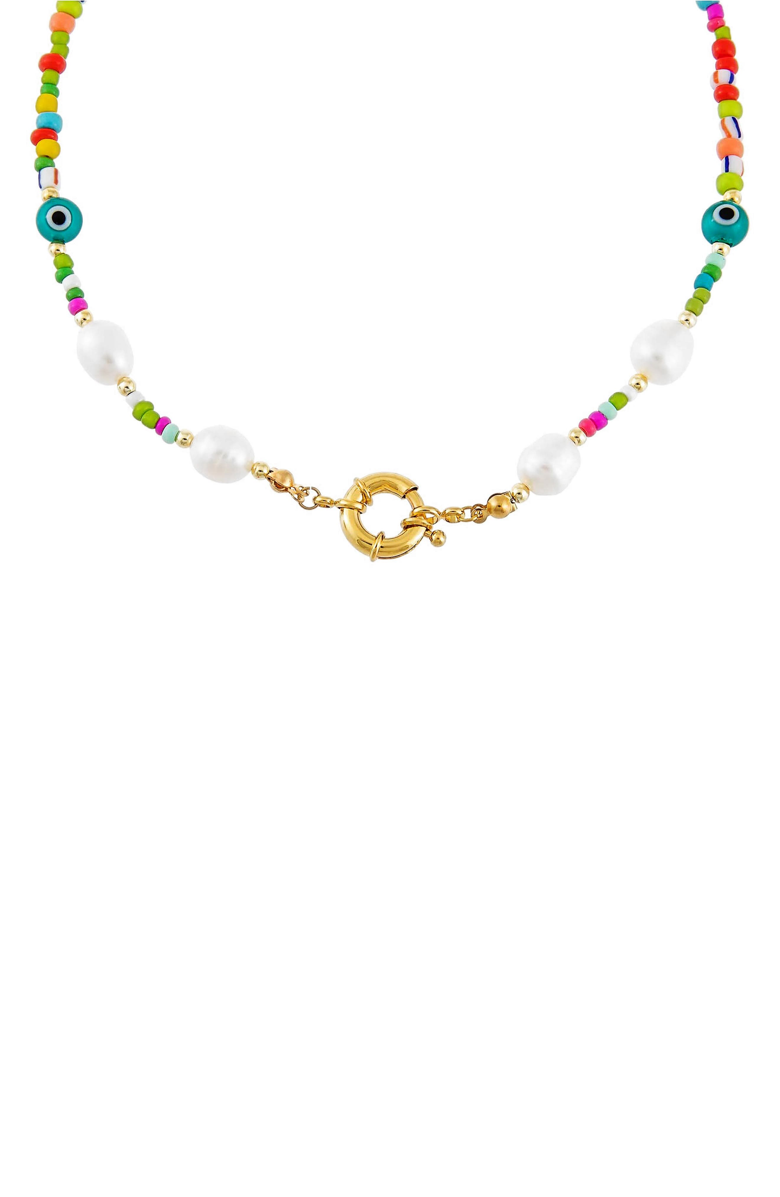 Women's Adina's Jewels Beaded Freshwater Pearl Station Necklace