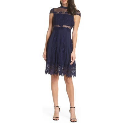 Foxiedox Bravo Zulu Lace Fit & Flare Cocktail Dress, Blue