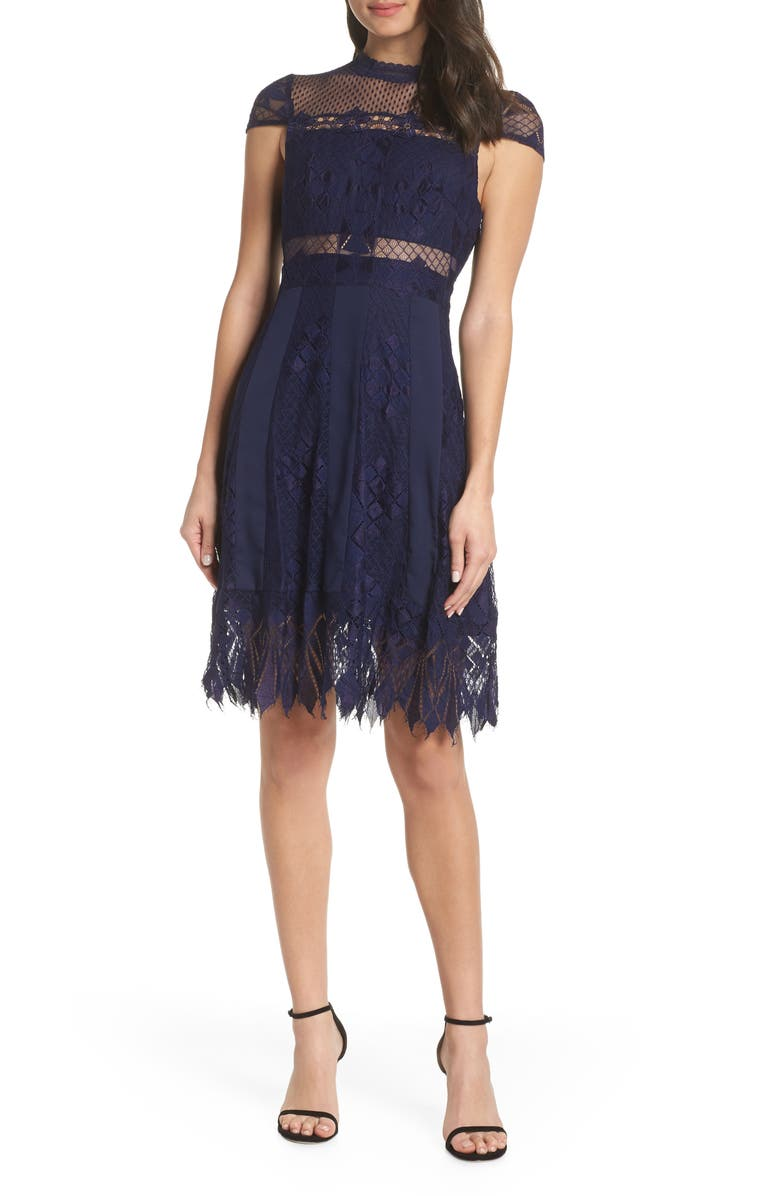 FOXIEDOX Bravo Zulu Lace Fit & Flare Cocktail Dress, Main, color, NAVY
