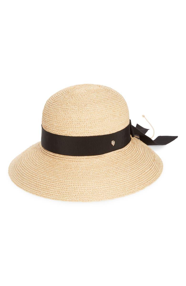 HELEN KAMINSKI Newport Raffia Straw Hat, Main, color, NATURAL/ MIDNIGHT