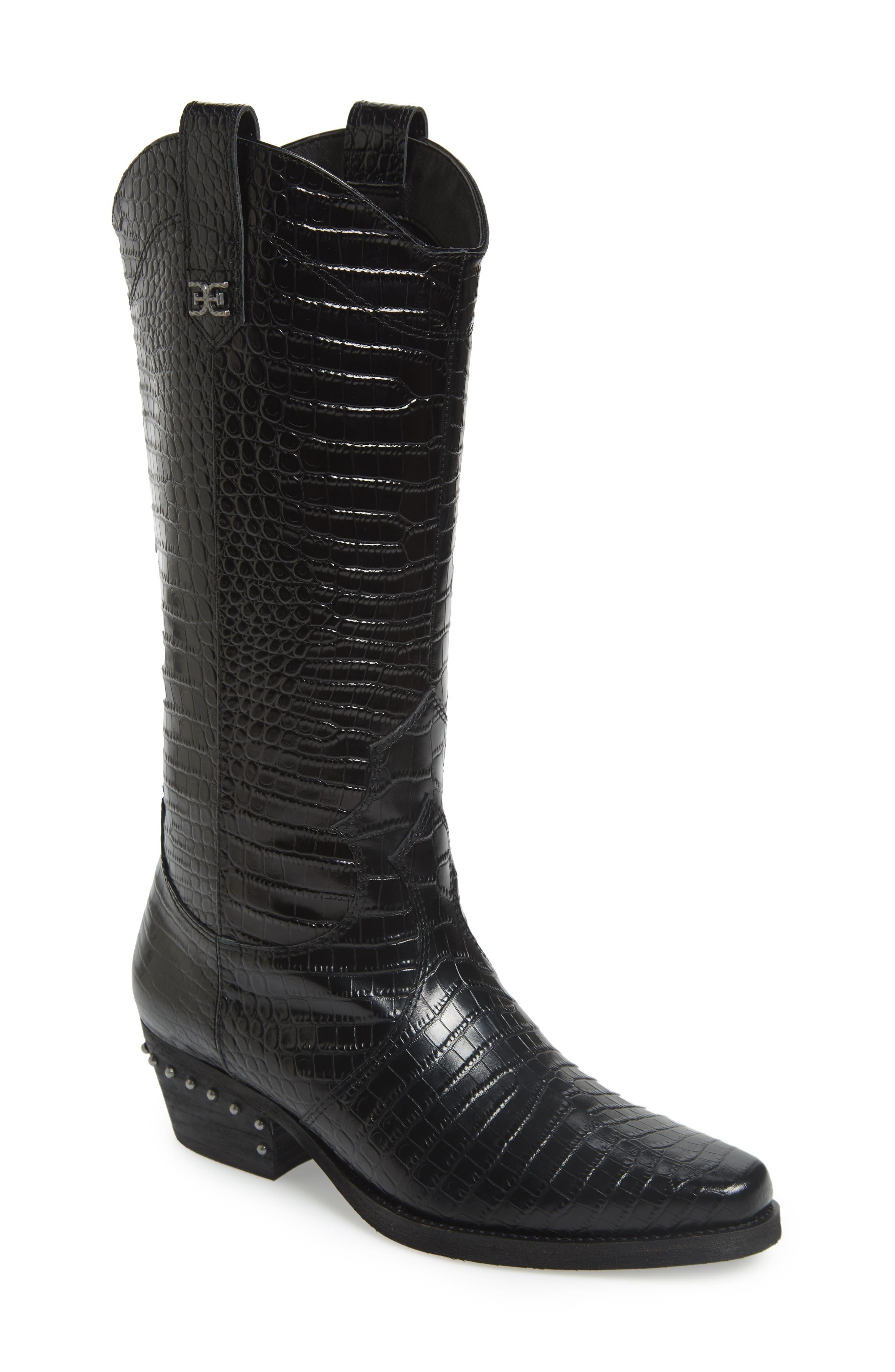 Sam Edelman Oakland Croc Embossed Western Boot, Black