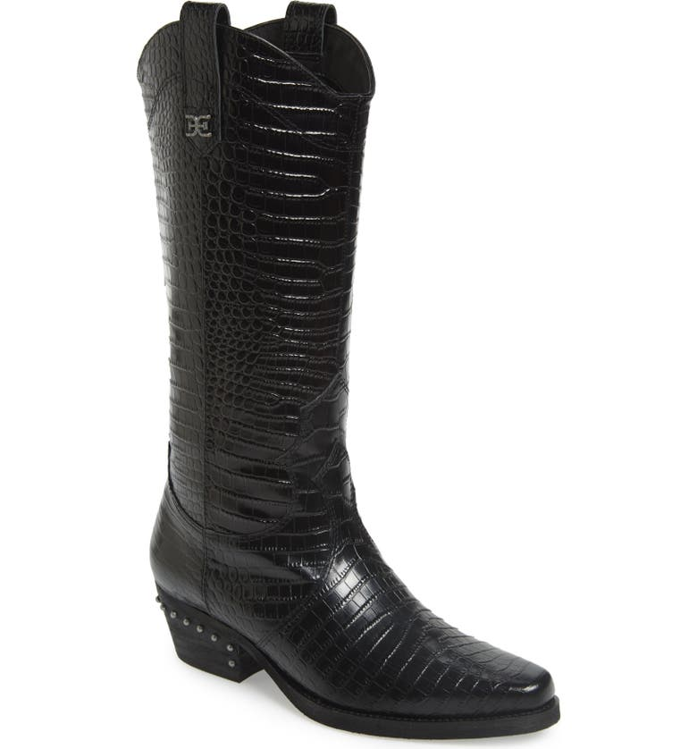 SAM EDELMAN Oakland Croc Embossed Western Boot, Main, color, BLACK LEATHER