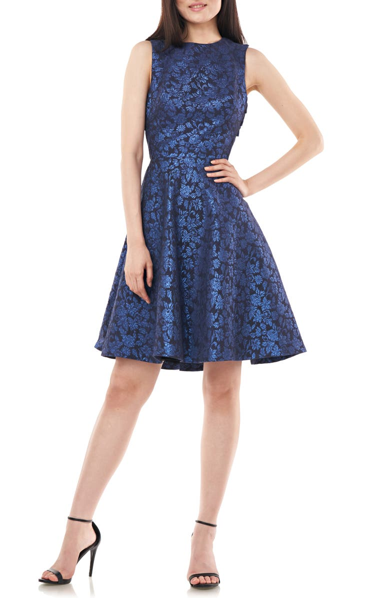 LOVE BY THEIA Open Back Jacquard Party Dress, Main, color, NAVY
