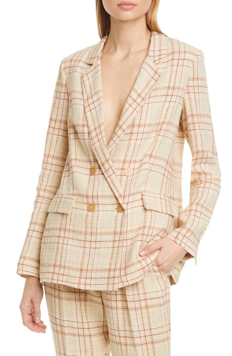 FORTE_FORTE Tartan Plaid Linen & Cotton Blend Blazer, Main, color, CIPRIA