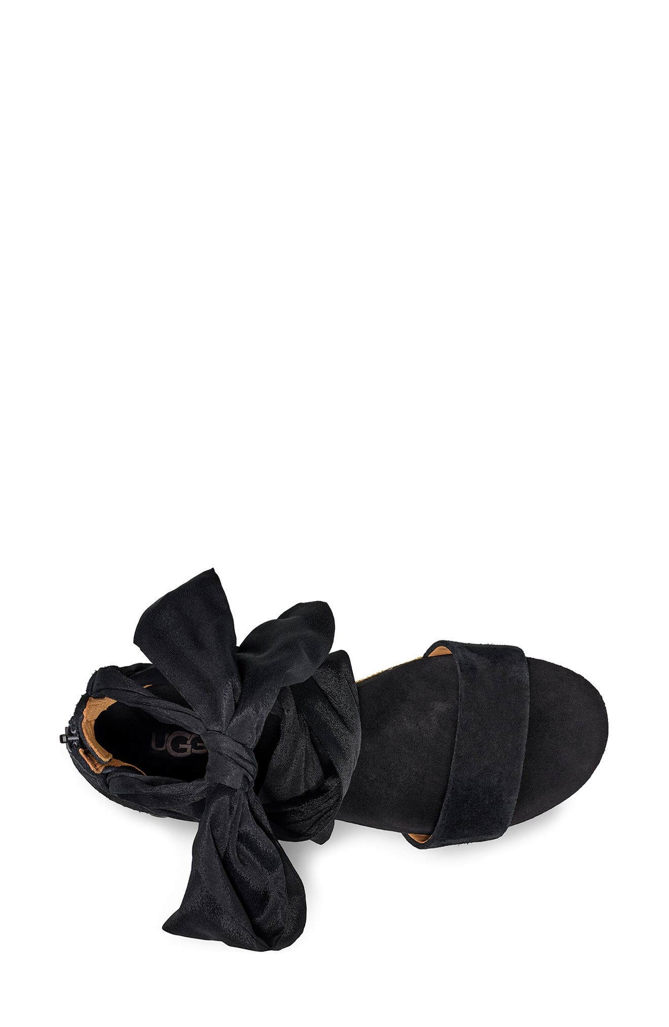 ,                             Trina Ankle Tie Wedge Sandal,                             Alternate thumbnail 4, color,                             BLACK LEATHER