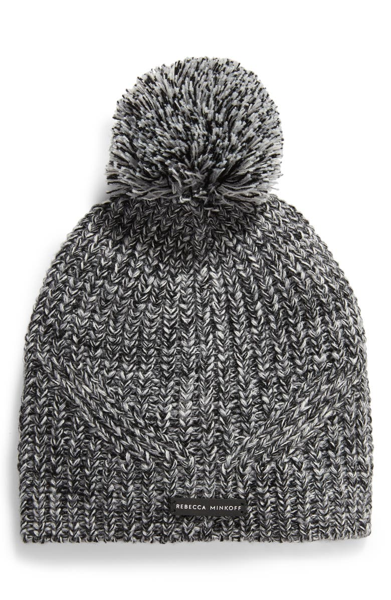 REBECCA MINKOFF Marled Pom Beanie, Main, color, BLACK/ HEATHER GRAY/ ECRU